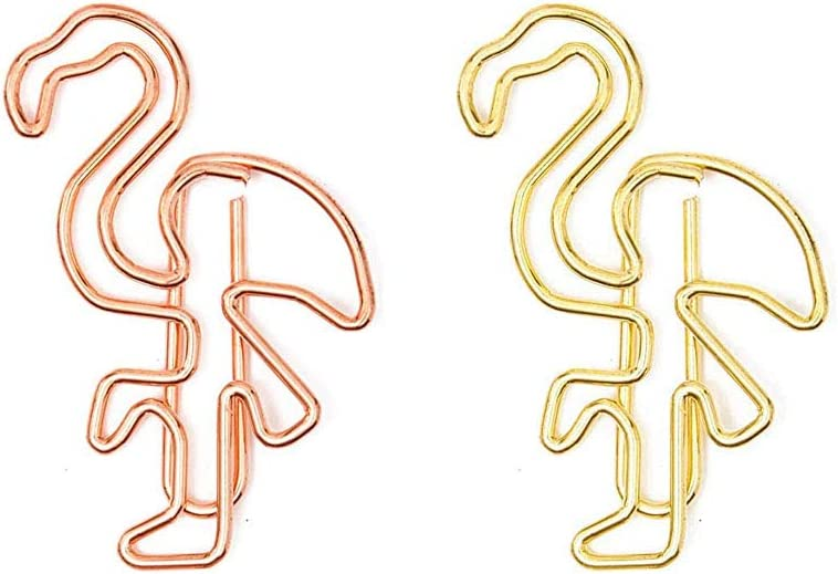 KOOBA Cute Paper Clips 20pcs Flamingo Shape Rose Gold and Yellow Gold, Funny Paperclips Bookmarks Planner Clips for Fun Office Supplies School Gifts Wedding Decoration