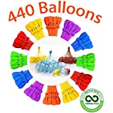 Tiny Balier Water Balloons 440 Balloons Easy Quick Fill for Splash Fun Kids and Adults Pool Party with in 60 Seconds lkd (12T, Multicolored103)