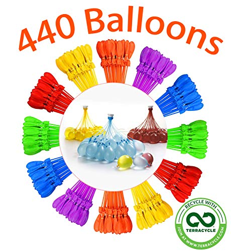 🥇 Tiny Balier Water Balloons 440 Balloons Easy Quick Fill for Splash Fun Kids and Adults Pool Party with in 60 Seconds lkd