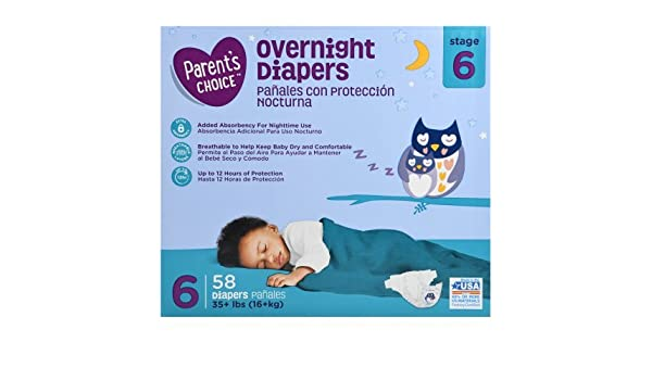 Amazon.com: Parents Choice Size 6 Overnight Diapers, 58ct: Health & Personal Care