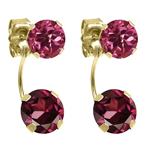 3.00 Ct Round Red Rhodolite Garnet Pink Tourmaline 14K Yellow Gold Earrings (Gold Rhodolite Earrings)