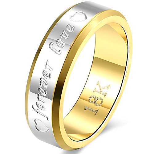 BEMI Romantic Forever Love AAA CZ Stainless Steel Promise Wedding Engagement Bands Ring for Couples man size 9 ()
