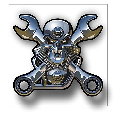 V Twin Motorcycle Engine Chrome Skull Sticker with, used for sale  Delivered anywhere in USA
