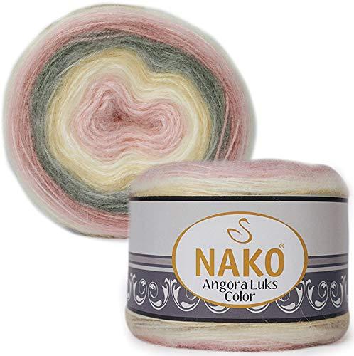 80% Acrylic, 5% Mohair, 15% Wool Yarn NAKO Angora LUKS Color Thread Crochet Lace Hand Knitting Yarn Art Embroidery Lot of 1 skn 150 gr 886 yds Color Gradient 81904