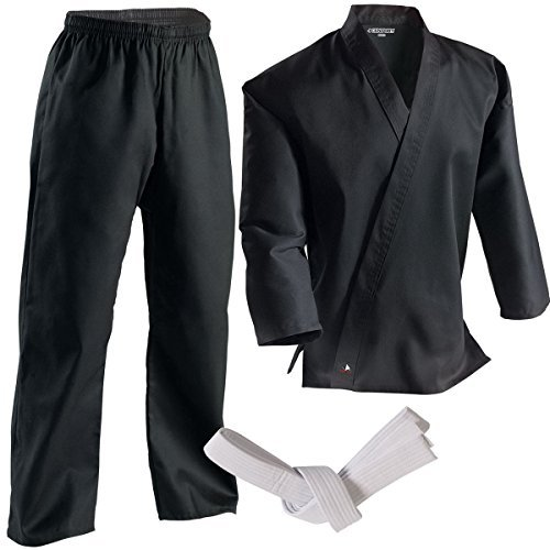 Century Martial Arts Middleweight Student Uniform with Elastic Pant - Black, 4 - Adult Medium