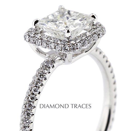 2.49 Carat Princess Natural Diamond AGI Certified D-VS2 Excellent Cut 18k White Gold 4-Prong Setting Two-Pave Rows Engagement Ring