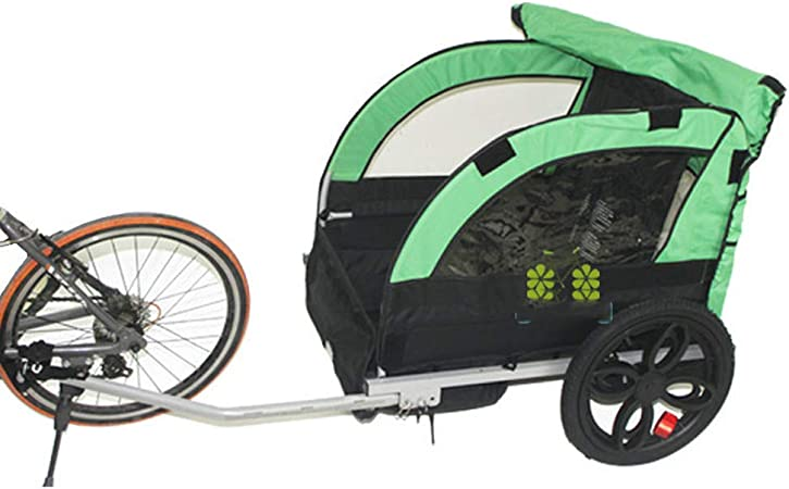QWERTOUY 2 Remolque de Bicicleta para niños/niños detrás del Remolque, Triciclo de Bicicleta para Cochecito de bebé de Doble Asiento, Marco de aleación de Aluminio y Rueda de Aire: Amazon.es: Hogar