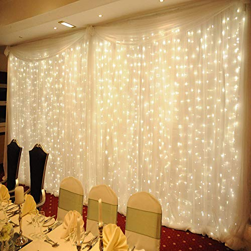 MZD8391 Curtain String Lights, 9.8 X 9.8ft 304 LED Starry Fairy Lights for Wedding, Bedroom, Bed Canopy, Garden, Patio, Outdoor Indoor (Warm White) by MZD8391 (Image #5)
