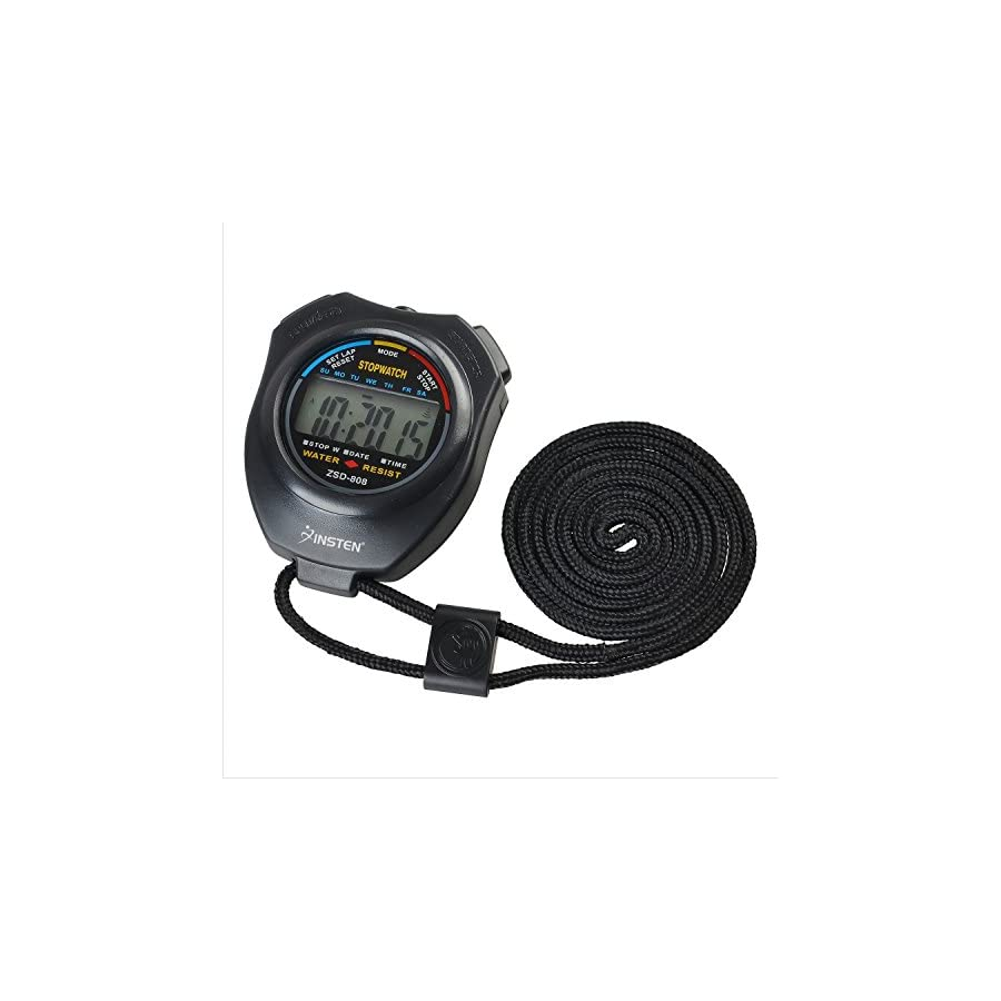 INSTEN LCD Digital Sports Stopwatch Chronograph Timer with Neck Strap for Workout, Black