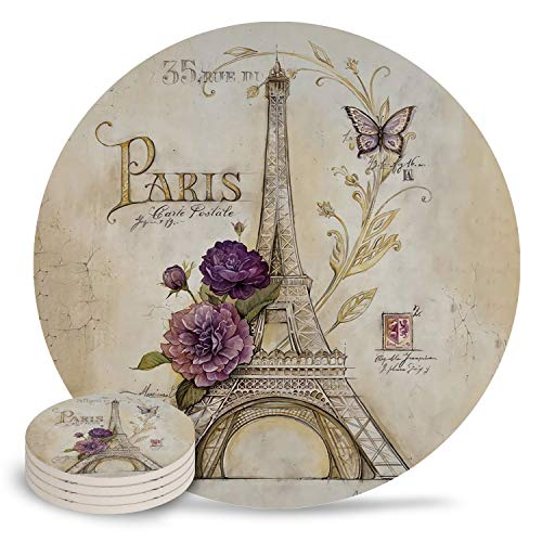 Coasters for Drinks 4-Piece Absorbent Stone Ceramic Coasters NO Holder Vintage Paris Effiel Tower Purple Flower Coaster with Cork Backing, Prevent Furniture from Dirty and Scratched