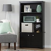 South Shore Furniture Vito 3-Shelf Bookcase with Doors, Pure Black