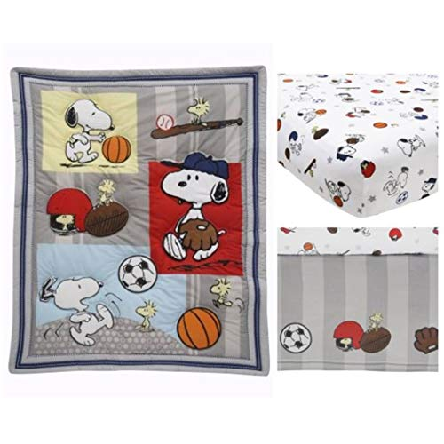 3 Piece Baby Blue Red Snoopy Dog Crib Bedding Set, Newborn Orange Sports Nursery Bed Set, Cartoon Character Charlie Brown Basketball Baseball Adorable Infant Child Comforter Blanket, Cotton Polyester