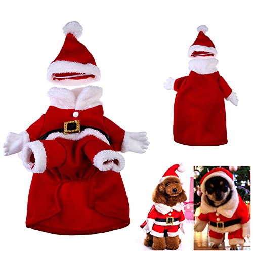 Giveme5 Lovely Pet Clothes Christmas Clothes for Dogs Christmas Eve Clothes Suit Winter Costume Sweater and Hat (L)