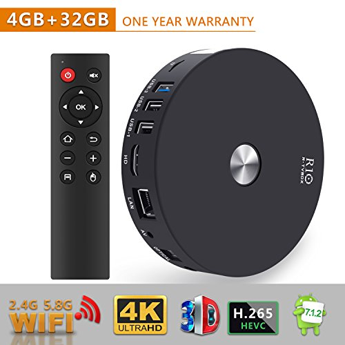 TV Box - SCS ETC R10 4GB RAM 32GB ROM Android 7.1 TV Box with Bluetooth 4.1/Dual Channel Wifi 2T2R, RK3328 Quad-Core 64bit Cortex-A53 Smart Android TV Box by SCS ETC