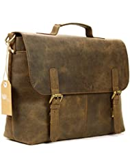 Leather Laptop Briefcase Messenger Bag Mens Satchel Office Bag in Brown Rustic Look Cow Leather