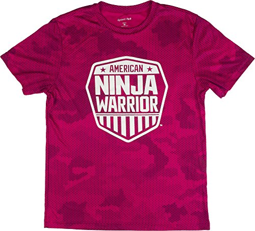 American Ninja Warrior Kids Camo Short Sleeve Performance T-Shirt (Large, Pink) -