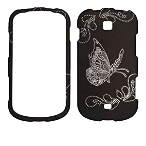 2D Silver Butterfly on Black Samsung Galaxy Legend (Verizon Prepaid) NEW 2013 Case Cover Phone Snap on Cover Case Rubberized Frosted Matte Surface Hard Shells