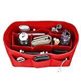 Felt Purse Insert Organizer, Handbag organizer, Bag in Bag for Handbag Purse Tote, Diaper Bag Organizer, Stand on Its Own, 12 Compartments, 3 Sizes (XL, Red)