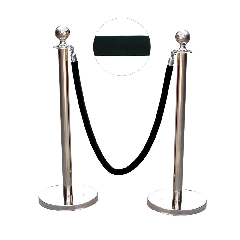 AllRight 2 X Polished Stainless Steel Queue Rope Barrier Rope Posts 1.5m Velvet Black OEM