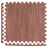 laundry room flooring  Soft Wood Foam Tiles (18 Tiles, Textured Mocha) 2ft x 2ft Interlocking Floor Tiles with Edges