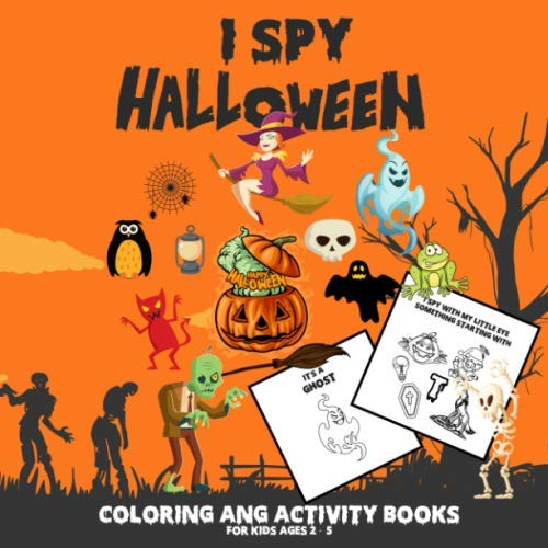 Scary Halloween Cat Coloring Pages (I Spy Halloween Coloring and Activity Books for Kids Ages 2 - 5: Spooky Scary Things & Cute Stuff Coloring and Gussing Game For Kids, Toddler and Preschool, Mummy, Zombie,)