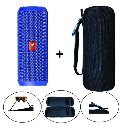 (JBL Flip 4 Splash Proof Portable Bluetooth Speaker, Blue Bundle Protective Hard Cover Portable Case, Black)