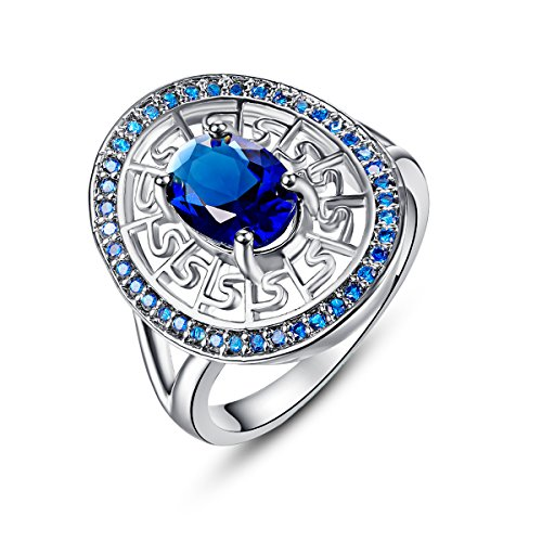 Empsoul 925 Sterling Silver Natural Novelty Plated Sapphire Quartz & Blue Celtic Halo Band Ring