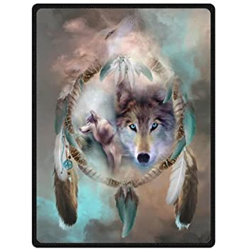 Best Cool Wolf Dream Catcher Fleece Blanket 58x 80