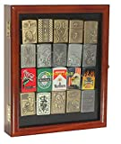 OKSLO Small display case wall cabinet for collectilbe cigarette lighters lckc02 (walnu