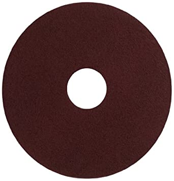"""Glit 11516 TN Polyester Blend Maroon Wood Surfacing Pad, Synthetic Blend Resin, Aluminum Oxide Grit, 16"""" Diameter, 175 to 350 rpm (Case of 10)"""