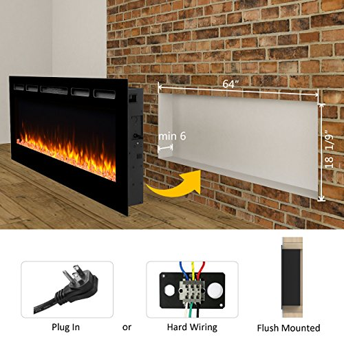 "PuraFlame Alice 68"" Recessed Electric Fireplace, Wall ..."