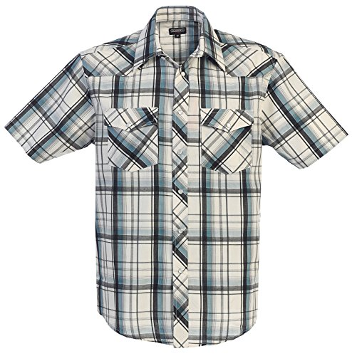 (Gioberti Men's Plaid Western Shirt, Arctic Gradient/Black, X)
