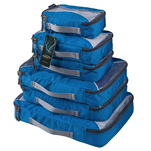 G4Free Packing Cubes 6pcs Set Travel Accessories Organizers Versatile Travel Packing Bags (Navy Blue)