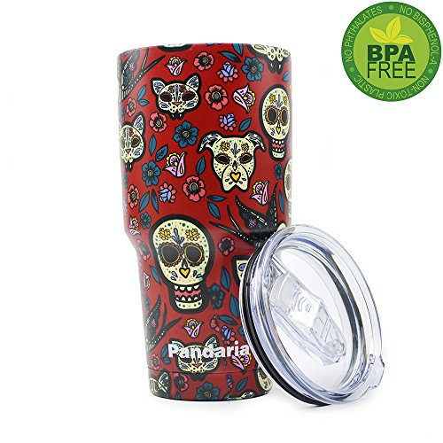 Pandaria 30 oz Stainless Steel Vacuum Insulated Tumbler with Lid - Double Wall Travel Mug Water Coffee Cup for Ice Drink & Hot Beverage, Sugar Skull Red