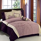 7pc King size Santa Fe Purple embroidered Comforter set By sheetsnthings