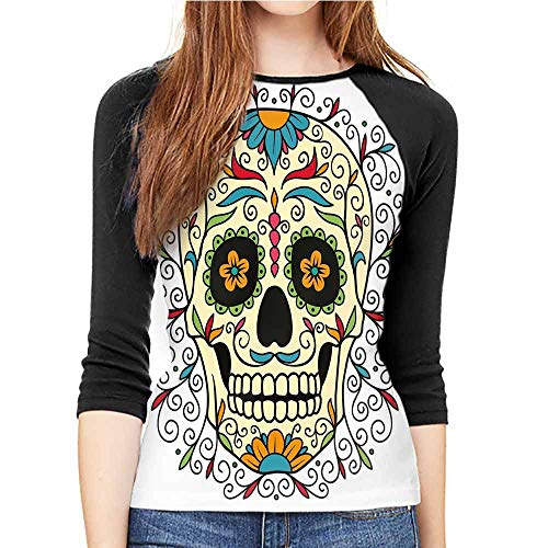 Suitable for Inner and Outer wear T-Shirt Sugar Skull Decor Multicolor