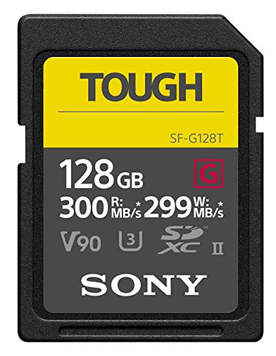 Sony Tough High Performance 128GB SDXC UHS-II Class 10 U3 Flash Memory Card with Blazing Fast Read Speed up to 300MB/s - Camera 10 Sony Class Memory