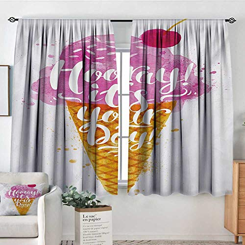 Mozenou Ice Cream Room Darkening Curtains Hooray! Its Your Day Phrase with Ice Cream Cone Cherry Flavor Print Thermal Blackout Curtains 72