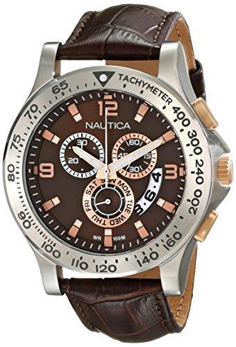 Nautica Men's NAD19503G NST 600 Chrono Analog Display Japanese Quartz Brown Watch