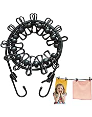 Portable Windproof Travel Clothesline with 12 Clothespins and 14 Anti-Skid Clips for Outdoor Camping,Vacation Hotel,Balcony,Backyard