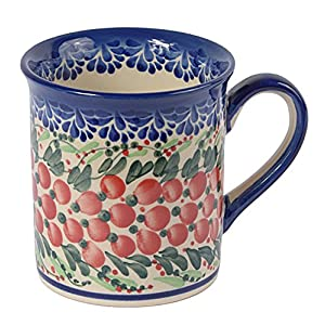 Traditional Polish Pottery, Handcrafted Ceramic Funnel-shaped Mug (300ml / 10.5 fl oz), Boleslawiec Style Pattern, Q.301.CRANBERRY
