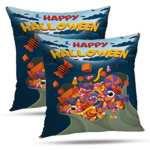 Batmerry Halloween Thanksgiving Decorative Pillow Covers 18x18 inch Set of 2,Vintage Halloween Bag Candy Sweet Treat Lollipop Trick Monster Party Throw Pillows Covers Sofa Cushion Cover Pillowcase