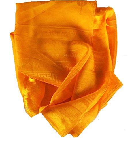High Quality Tibetan Prayer Scarf Kata Gold Color 8 Auspicious Symbols Ps-17