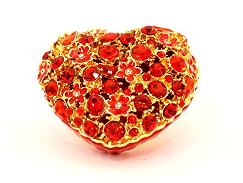 Ciel Collectables Floral Heart Trinket Box, Hand Painted Red Enamel with Red - Enamel Box Floral