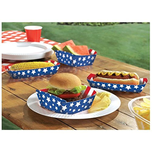 Red, White, and Blue Assorted Patriotic Food Trays (50ct)