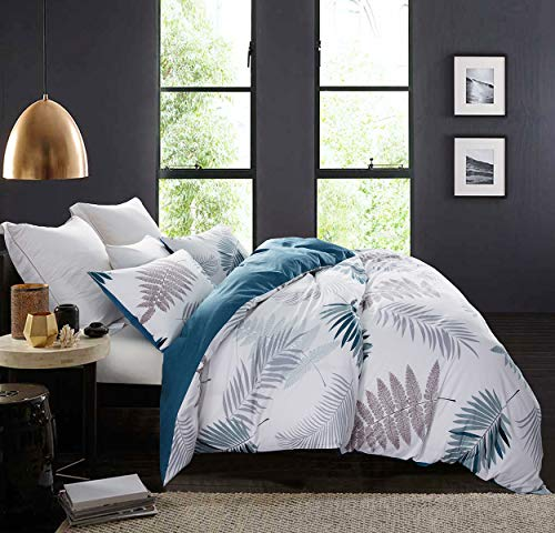 """SLEEPBELLA Duvet Cover Set, 600 Thread Count Cotton Leaf Botanical Pattern Print Reversible Comforter Cover Set (Queen, Peacock Blue-Leaf) - ★BEDDING SET INCLUDES - 1x duvet cover; 2x pillowcase. WITHOUT COMFORTER. Duvet cover features stylish button closure. Friendly design by sewing 4 corner ties to stop duvet, quilt and comforter from slipping. Queen size: duvet cover (90""""x 90""""), Pillowcase (20""""x26"""") ★REVERSIBLE DESIGN - Elegant leaf pattern and peacock blue shade color, you can change the pattern of the front and back of the duvet cover by mood. A color, a mood ★SOFT & COMFORTABLE PRINTED COTTON - Slip into comfort and luxury. Our duvet cover set is made from 600 thread count cotton. Soft and comfy sense of touch always gives you a sweet sleep and accompanies you through four seasons. - comforter-sets, bedroom-sheets-comforters, bedroom - 51SRl1S5NFL -"""