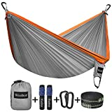 Wonbor Hammock, Camping Double Hammock Lightweight Portable Parachute Nylon Hammock With Tree Ropes for Outdoor Backpack Travel Beach Yard Hanging Bed Sleeping Swing - Grey
