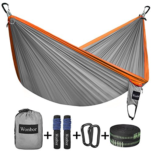 Wonbor Hammock, Camping Double Hammock Lightweight Portable Parachute Nylon Hammock With Tree Ropes for Outdoor Backpack Travel Beach Yard Hanging Bed Sleeping Swing - Grey by Wonbor