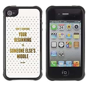 LASTONE PHONE CASE / Suave Silicona Caso Carcasa de Caucho Funda para Apple Iphone 4 / 4S / Compare Beginning Middle Life Quote