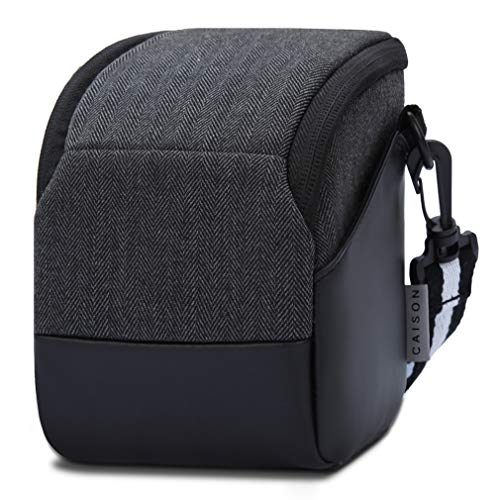 CAISON Shock Resistant Bridge Camera Case with Adjustable Shoulder Strap and Side Pockets - Mirrorless Small Camera Bag for Canon, Nikon, Panasonic, Fujifilm, Sony Digital Cameras